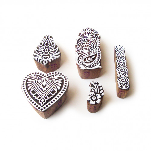 (Set of 5) Heart and Flower Designer Pattern Wood Stamps for Printing