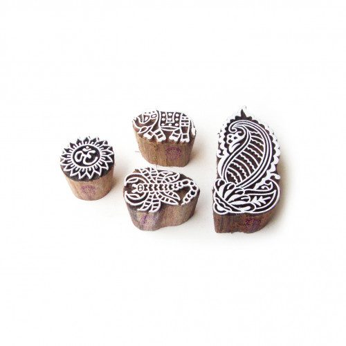 (Set of 4) Scorpio and Paisley Hand Carved Pattern Wood Stamps for Printing