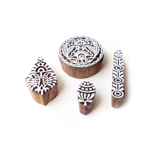 (Set of 4) Round and Leaf Artistic Pattern Wood Stamps for Printing