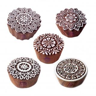 (Set of 5) Designer Motif Floral and Mandala Wood Stamps for Printing