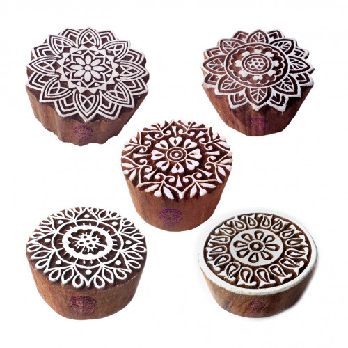 (Set of 5) Designer Motif Floral and Mandala Wood Stamps for Printing