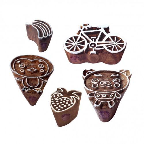 (Set of 5) Urban Motif Kid and Bicycle Wood Stamps for Printing