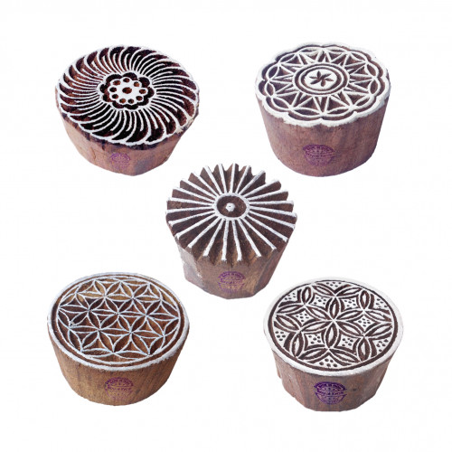 (Set of 5) Indian Motif Swirl and Round Wood Stamps for Printing
