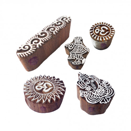 (Set of 5) Crafty Motif Religious and Ganesha Wood Stamps for Printing