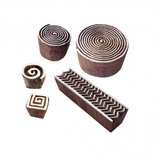 (Set of 5) Artistic Motif Spiral and Chevron Wood Stamps for Printing
