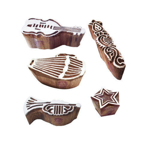 (Set of 5) Urban Motif Star and Music Wood Stamps for Printing