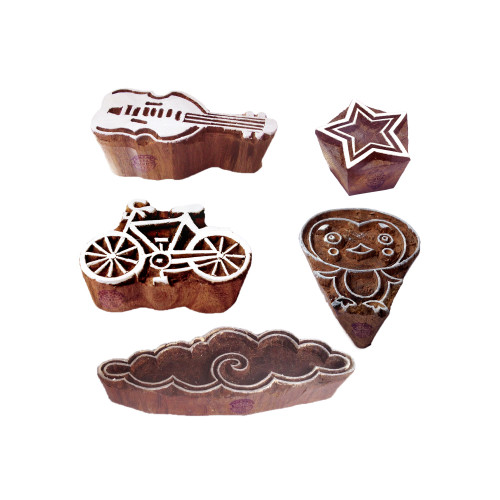 (Set of 5) Arty Crafty Motif Assorted and Music Wood Stamps for Printing
