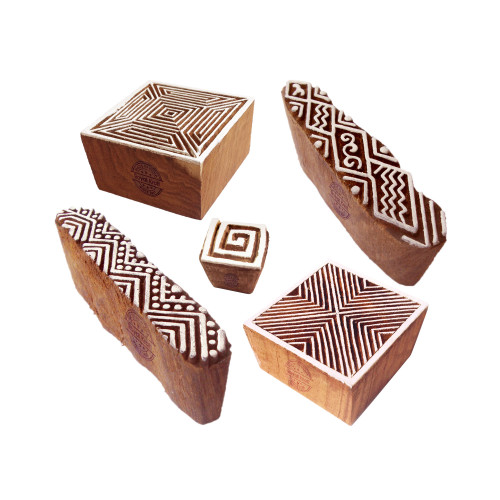 (Set of 5) Traditional Motif Geometric and Finger Wood Stamps for Printing