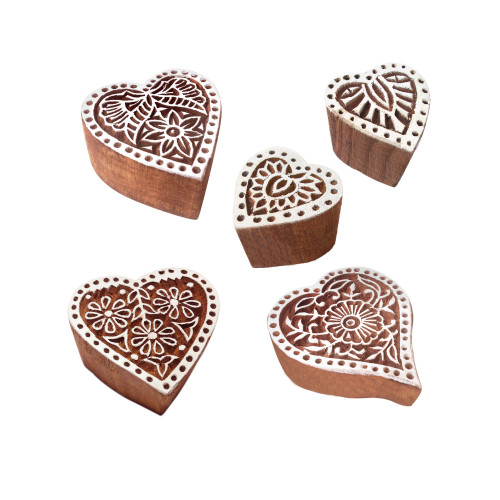 (Set of 5) Indian Motif Heart and Floral Wood Stamps for Printing