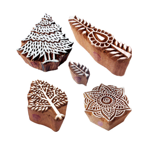 (Set of 5) Crafty Motif Tree and Floral Wood Stamps for Printing