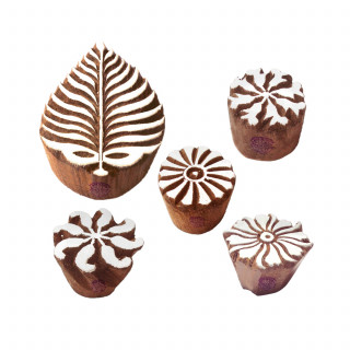 (Set of 5) Trendy Motif Leaf and Round Wood Stamps for Printing