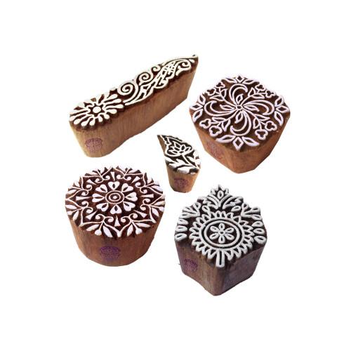 (Set of 5) Designer Motif Paisley and Leaf Wood Stamps for Printing