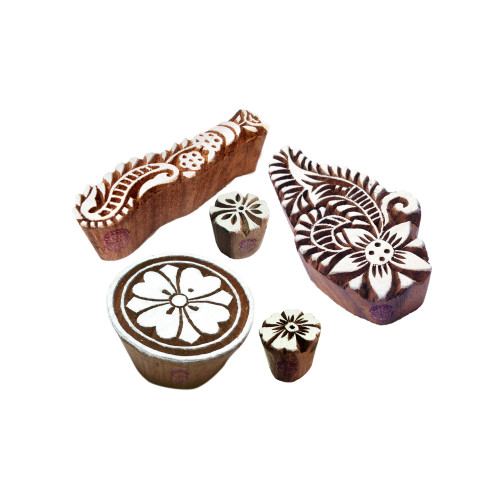 (Set of 5) Creative Motif Floral and Finger Wood Stamps for Printing