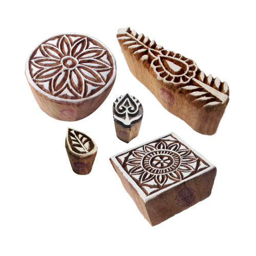 (Set of 5) Attractive Motif Mix and Floral Wood Stamps for Printing