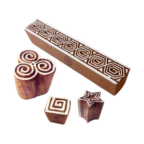 (Set of 4) Ornate Motif Star and Geometric Wood Stamps for Printing