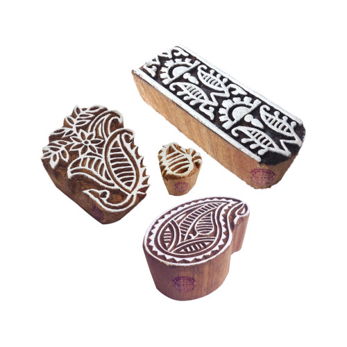 (Set of 4) Designer Motif Paisley and Floral Wood Stamps for Printing