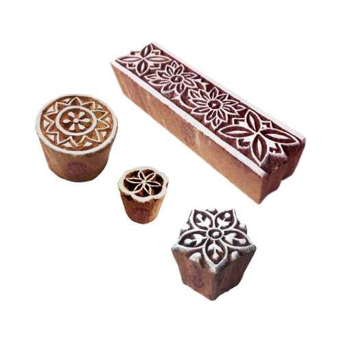 (Set of 4) Arty Crafty Motif Flower and Border Wood Stamps for Printing