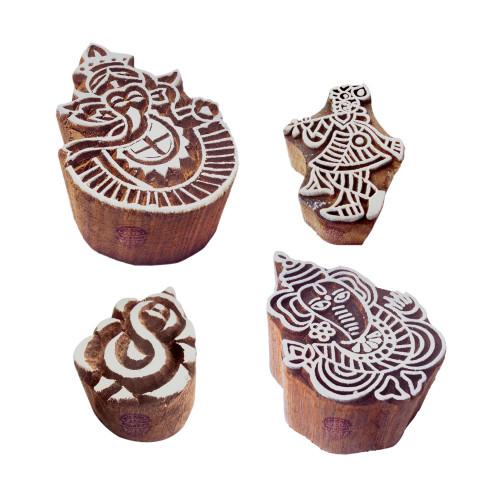 (Set of 4) Traditional Motif Ganesha and Krishna Wood Stamps for Printing