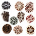 (Set of 10) DIY Henna Fabric Paper Clay Pottery Blocks Wooden Assorted Printing Stamps