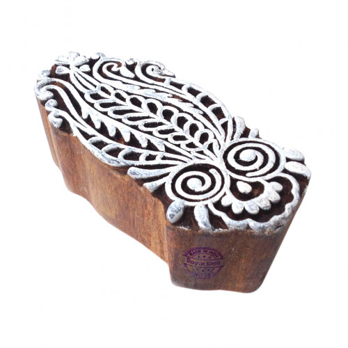 Beautiful Arty Crafty Paisley Shape Wooden Block for Printing