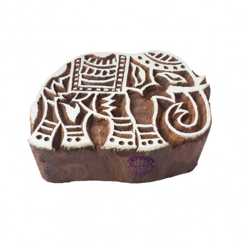 Abstract Elephant Animal Shape Wooden Block for Printing