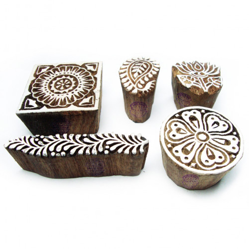 (Set of 5) Jaipuri Floral and Assorted Pattern Wooden Blocks for Printing