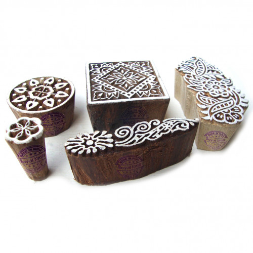 (Set of 5) Artistic Floral and Assorted Pattern Wooden Blocks for Printing