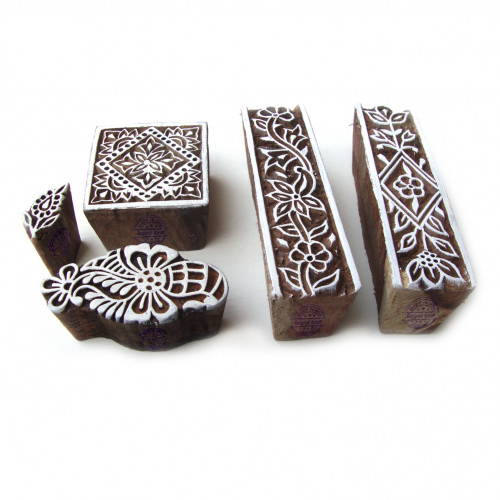 (Set of 5) Hand Crafted Border and Square Pattern Wooden Blocks for Printing