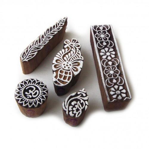 (Set of 5) Elegant Leaf and Floral Pattern Wooden Blocks for Printing