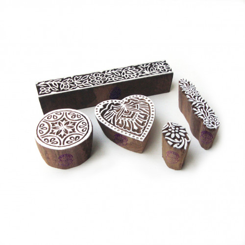 (Set of 5) Artistic Heart and Round Pattern Wooden Blocks for Printing