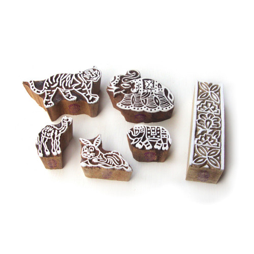 (Set of 6) Contemporary Tiger and Elephant Pattern Wooden Blocks for Printing
