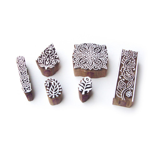 (Set of 6) Leaf and Square Asian Pattern Wooden Blocks for Printing