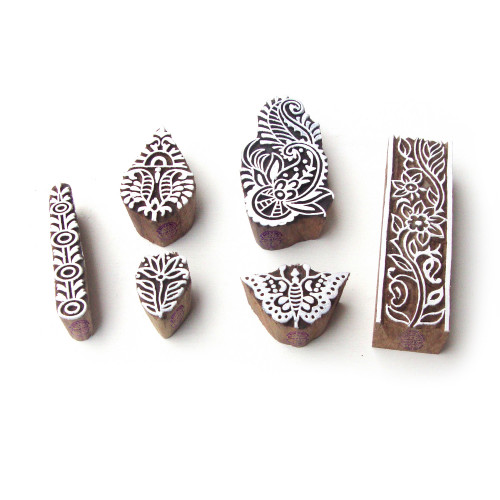 (Set of 6) Butterfly and Floral Decorative Pattern Wooden Blocks for Printing