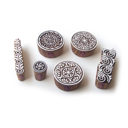 (Set of 6) Round and Border Designer Pattern Wooden Blocks for Printing