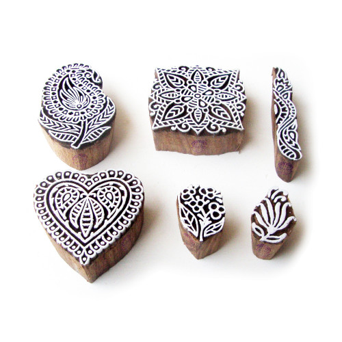 (Set of 6) Assorted and Floral Jaipuri Pattern Wooden Blocks for Printing