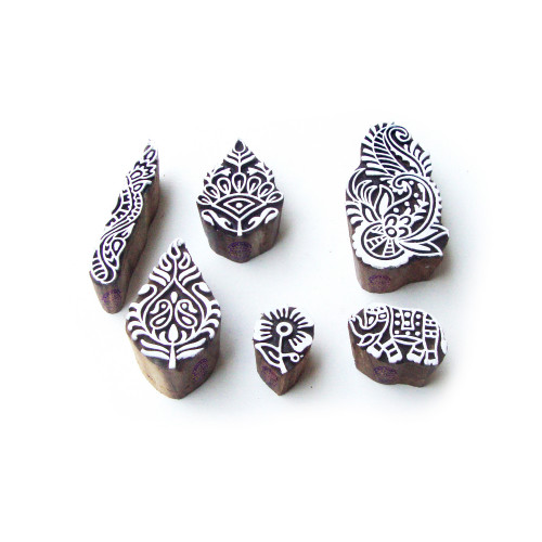 (Set of 6) Elephant and Leaf Ethnic Pattern Wooden Blocks for Printing