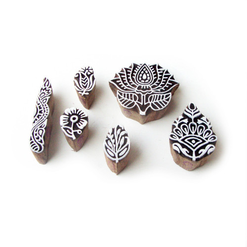 (Set of 6) Lotus and Floral Asian Pattern Wooden Blocks for Printing