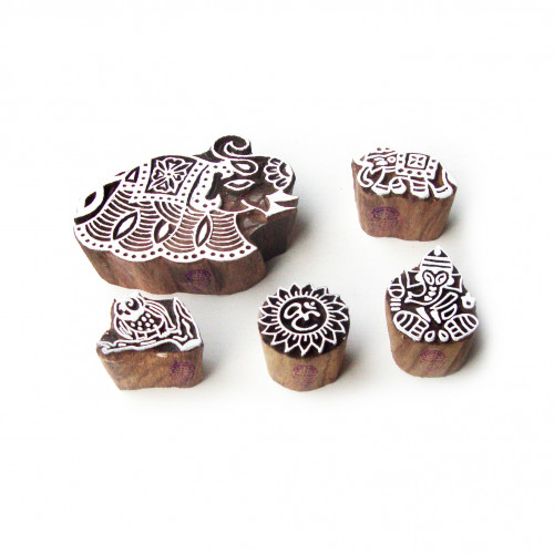 (Set of 5) Animal and Religious Jaipuri Pattern Wooden Blocks for Printing