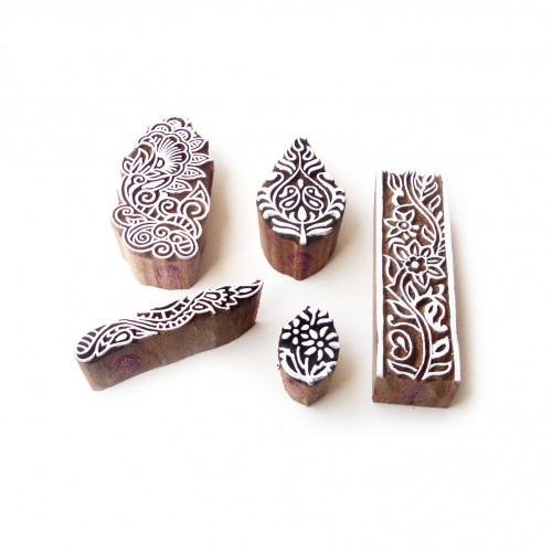 (Set of 5) Assorted and Floral Hand Carved Pattern Wooden Blocks for Printing