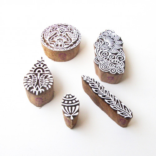 (Set of 5) Round and Leaf Artistic Pattern Wooden Blocks for Printing