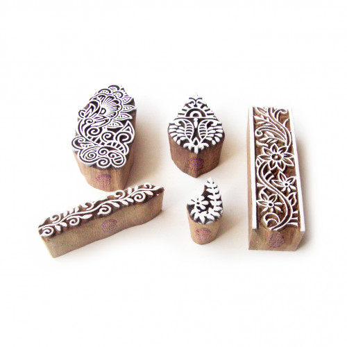 (Set of 5) Assorted and Floral Ethnic Pattern Wooden Blocks for Printing