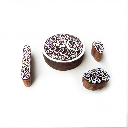 (Set of 4) Elephant and Round Decorative Pattern Wooden Blocks for Printing