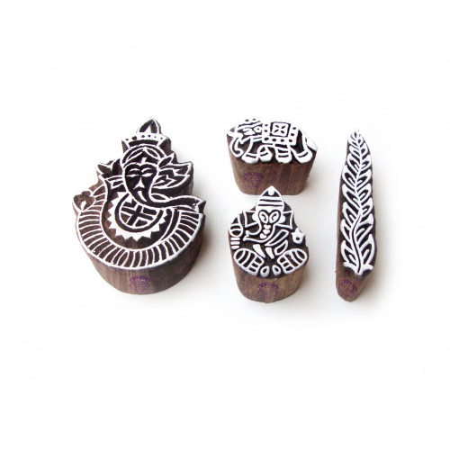 (Set of 4) Ganesha and Border Handmade Pattern Wooden Blocks for Printing