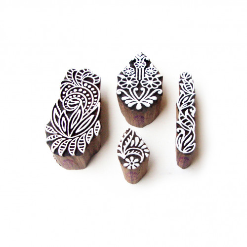 (Set of 4) Assorted and Floral Elegant Pattern Wooden Blocks for Printing