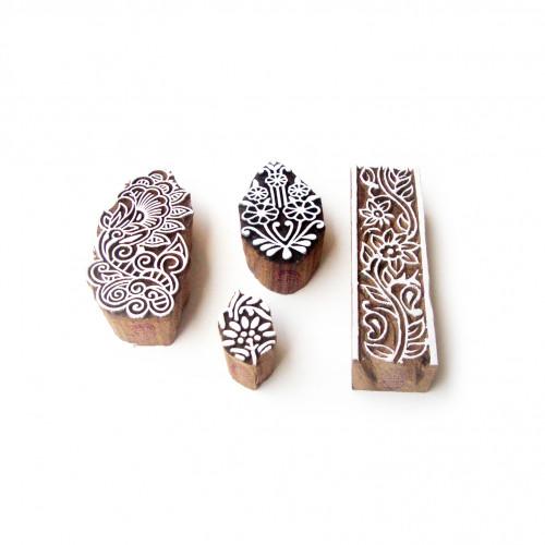 (Set of 4) Border and Assorted Designer Pattern Wooden Blocks for Printing