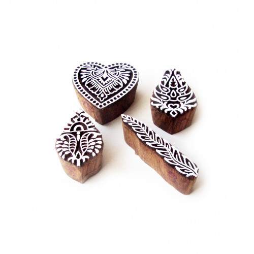 (Set of 4) Heart and Leaf Hand Made Pattern Wooden Blocks for Printing