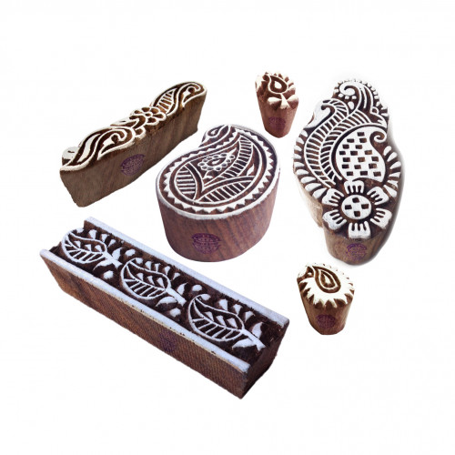 (Set of 6) Original Pattern Border and Paisley Wooden Blocks for Printing