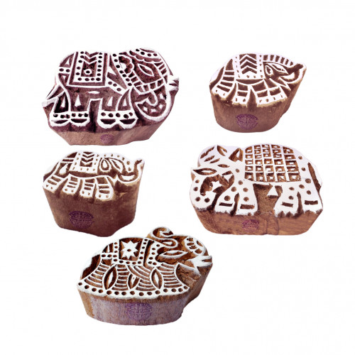 (Set of 5) Crafty Pattern Assorted and Elephant Wooden Blocks for Printing
