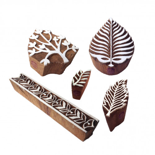 (Set of 5) Handcarved Pattern Palm Leaf and Tree Wooden Blocks for Printing