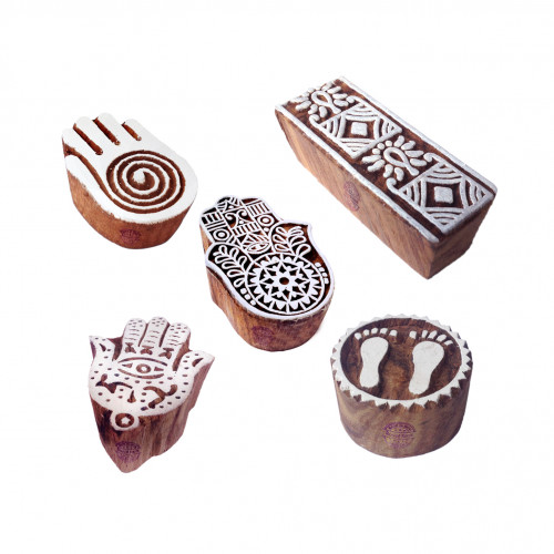 (Set of 5) Attractive Pattern Mix and Hamsa Hand Wooden Blocks for Printing